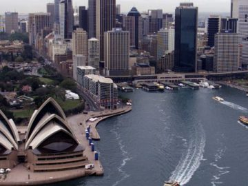 An aerial view of Sydney's Opera House in Sydney, Australia.